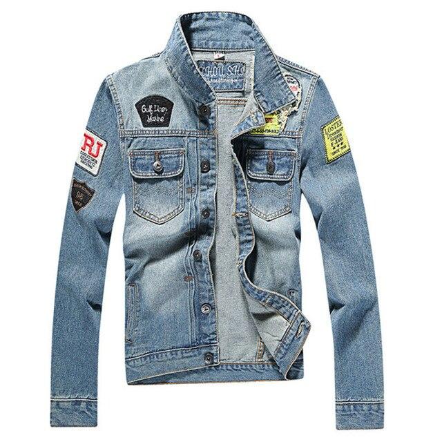 Men's Denim Jacket 2017 Military Style Long Sleeve Denim Coat Slim ...