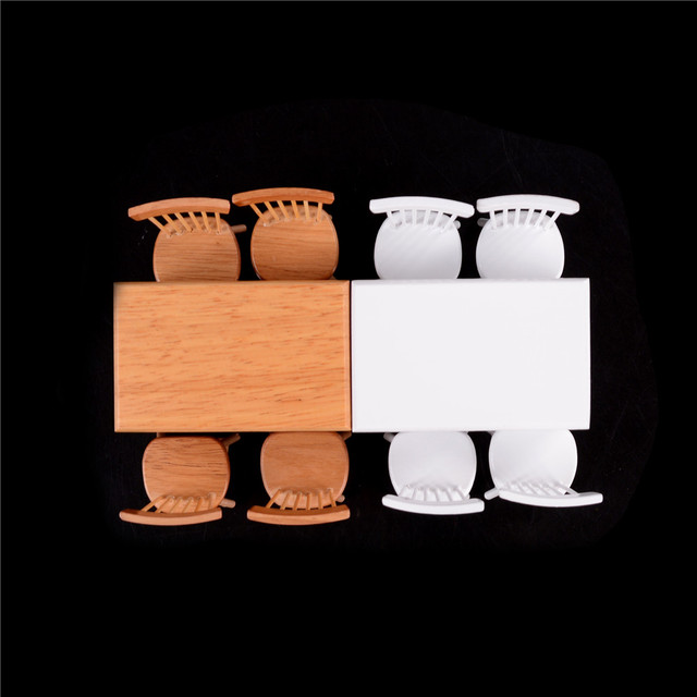 Doll House 1/12 Scale Miniature Wooden Dining Table 5 pcs Set
