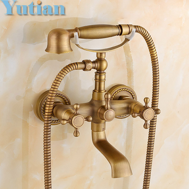 Free shipping  Bathroom Bath Tub Wall Mounted Hand Held Antique Brass Shower Head Kit Shower Faucet Sets YT-5328 free shipping polished chrome finish new wall mounted waterfall bathroom bathtub handheld shower tap mixer faucet yt 5333