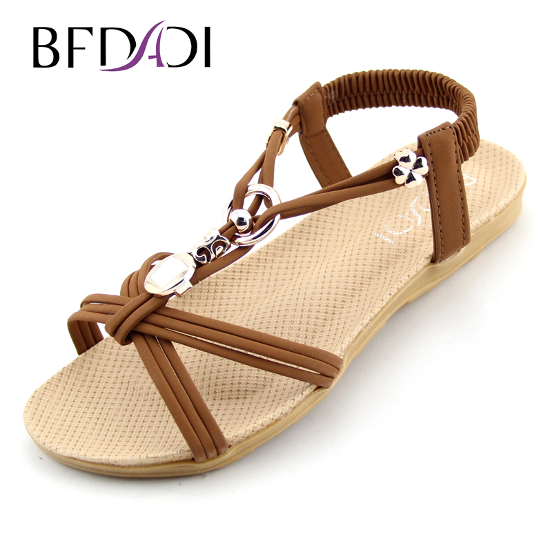 BFDADI Women Sandals 2016 Ankle-Strap Shoes Women Flat Sandals Narrow Band Summer Shoes Beaded Girl Flip Flops Big size B01