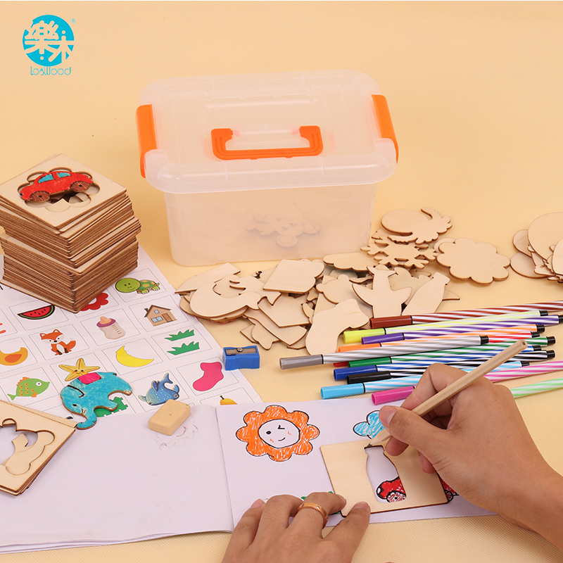 Logwood Wooden Toys Drawing Toy Set 100pcs Board School Paint Learning Educational Coloring Noteook Paint Coloring Board