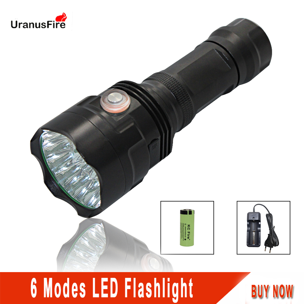 Uranusfire led flashlight usb rechargeable convoy 18650 26650 Cree XML-T6 Powerful 18000LM 6 mode Tactical lanterna tatica T6 sitemap 6 xml