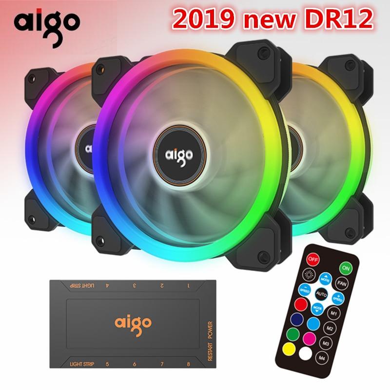 Aigo 2019 DR12 120 мм кулер вентилятор двойной RGB ПК вентилятор охлаждения для компьютера бесшумный игровой чехол с ИК-пультом дистанционного управ...