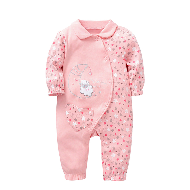 64499c4113fe Wuawua Pretty baby girl clothes long sleeve newborn baby pink romper cute  girl cotton jumpsuit size