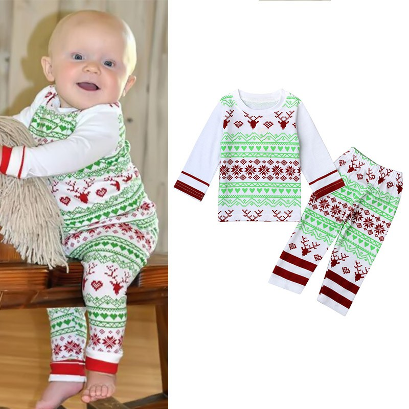 Winter & Autumn  Year Christmas Baby Kids Girls Boys Long Sleeve Nightwear Pajamas Set Sleepwear Suit 2016 christmas suit 0 3y newborn toddler kids girls boys reindeer homewear nightwear sleepwear pajamas set 2pcs