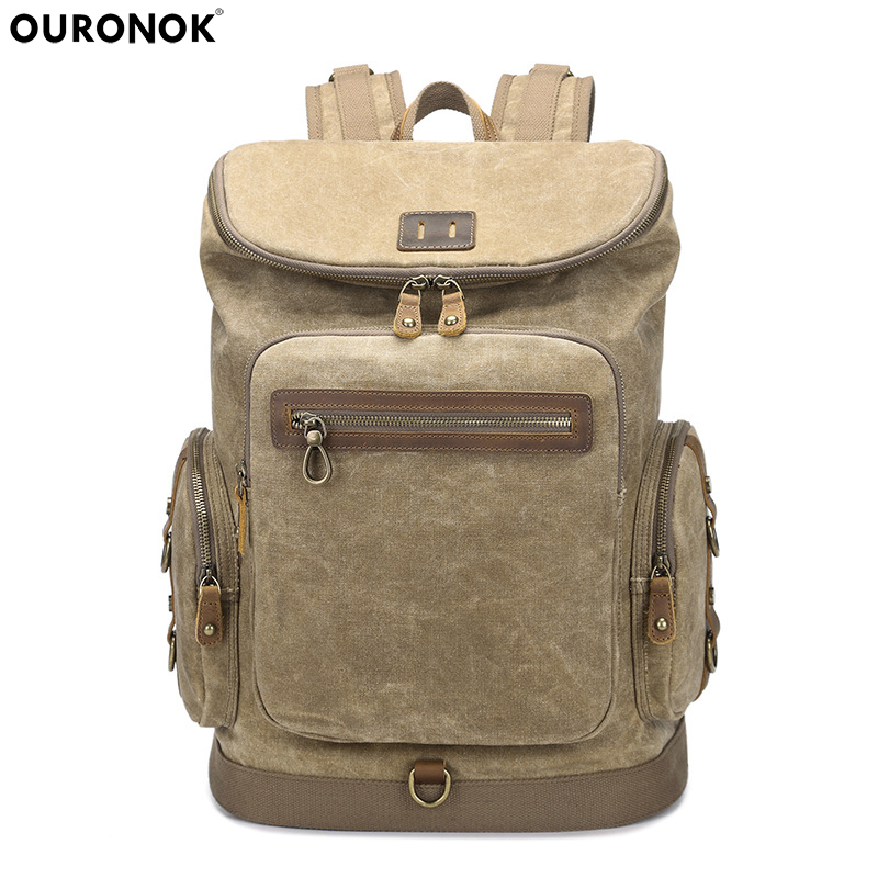 Student retro backpack travel backpack rainproof large capacity oil wax canvas bag