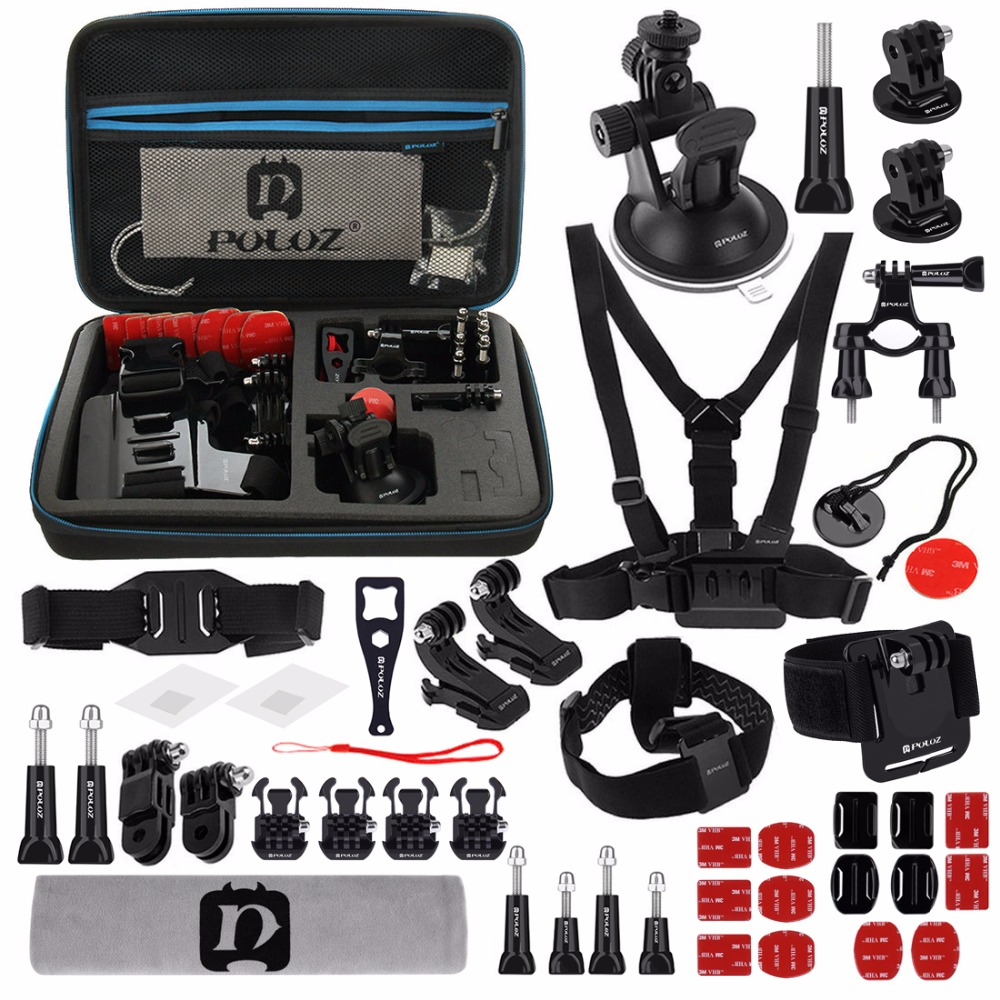 45 in 1 Gopro Accessory Combo Kit with Case for GoPro HERO7/6/5 /5 Session /4 Session /4 /3+/3 /2 /1 Xiaoyi and Other Action Cam gopro набор д замены защ линзы кам session arlrk 001