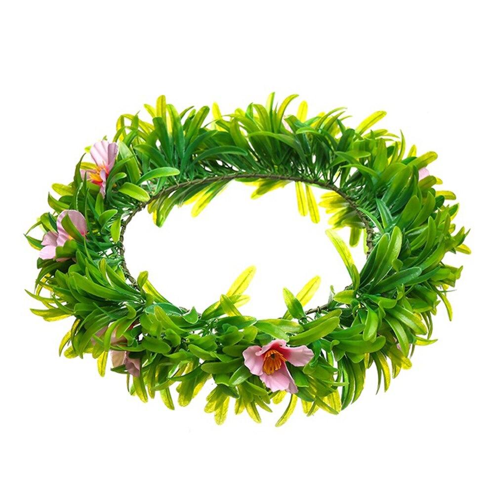 Boho Women Headband Handmade Plastic Fabric Cloth Flower Wreath Wedding Party Beach Hair Accessories Green Leaves Bridal Garland