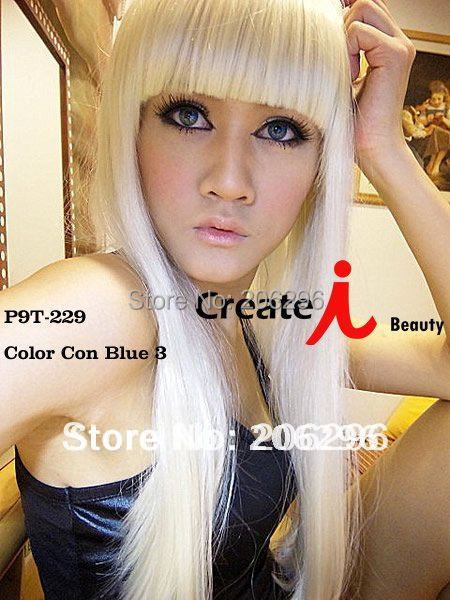 Free Shipping Lady GaGa Fashion Wig Long Straight Hair For Women White wigs 50cm White