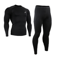 Life on track Black Compression Shirt Long Sleeve Base Layer Under Skin Tight Gym Training/Outdoor Sport MMA