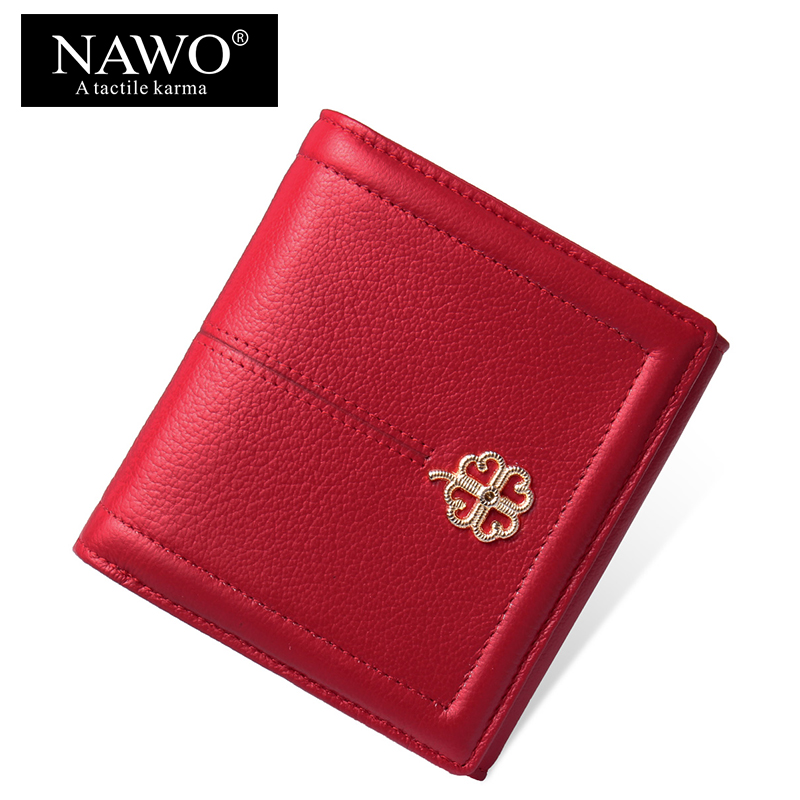 NAWO Brand Wallet Women Luxury Brand Genuine Leather Ladies Purse For Girls Small Card Holder Coin Pocket Money Wallets Short nawo real genuine leather women wallets brand designer high quality 2017 coin card holder zipper long lady wallet purse clutch