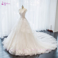 Waulizane New Arrival Court Train Scoop A Line Wedding Dresses Vintage Embroidery Lace Floor Length Bridal