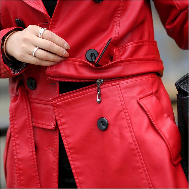 Hot 2018 Autumn New Women Long Leather Jacket Slim Plus Size Bow Belt Motorcycle PU Leather Long Jacket Coat Leather Trench