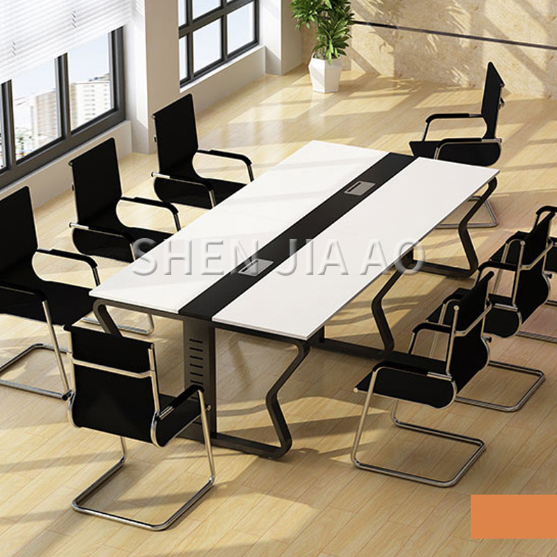 1PC Modern Minimalist Style Conference Table Office Computer Desk Steel Wood Structure Colorful Conference Table Without Chair