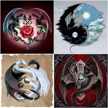 Oly 5D Diamond Painting Dragon Full Round Mosaic Taiji Partern Rhinestone Embroidery
