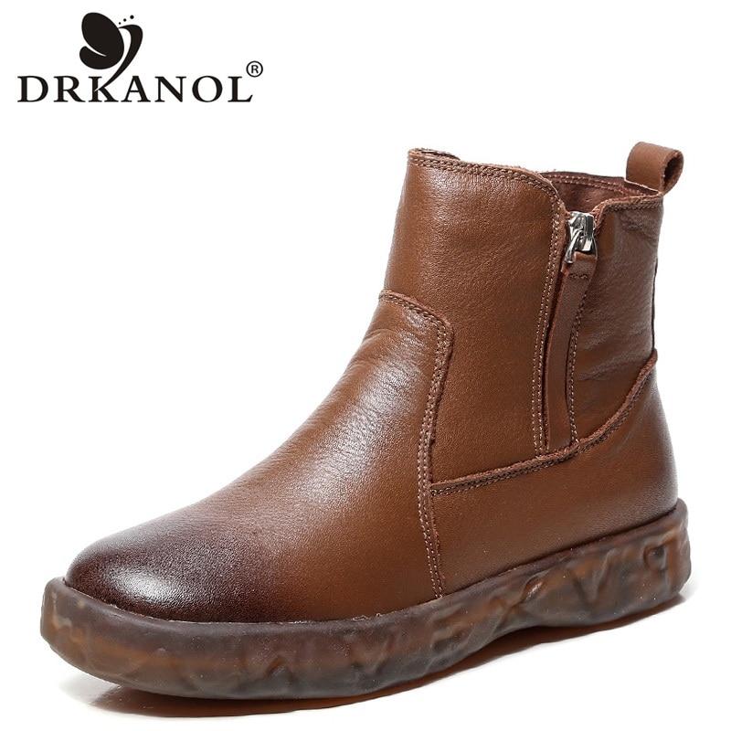 цена на DRKANOL 2019 Autumn Winter Basic Women Ankle Boots Botas Mujer Soft Non Slip Retro Genuine Leather Zipper Keep Warm Cotton Shoes