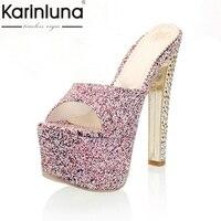 Karinluna Alta Calidad 2018 de Gran Tamaño 33-40 Sexy Diapositivas Zapatos de Las Mujeres de Moda Rojo de Spike Plataforma de Super High Heels Estilo de europa