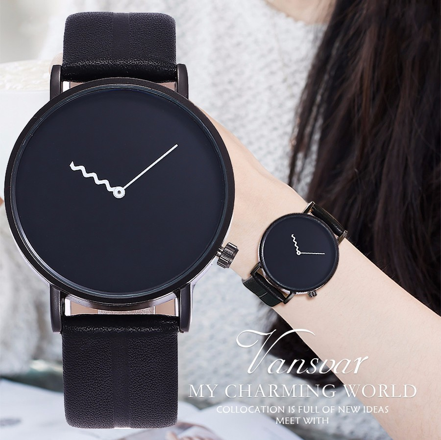 Vansvar Brand Men Women Simple Design Wristwatches High Quality Fashion Unisex Leather Strap Quartz Watches Relogio Feminino printer main board for canon mx397 mx398 mx 397 398 formatter board mainboard on sale