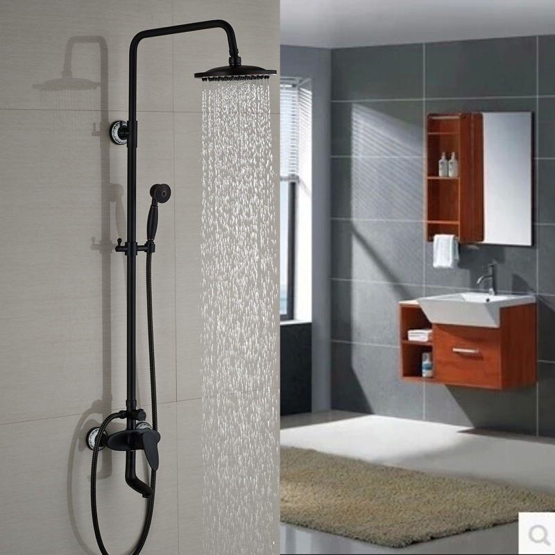 Wall Mount 8 Rain Shower Faucet Bathroom Outdoor Shower Mixer Taps Single Handle Tub Filler Brass