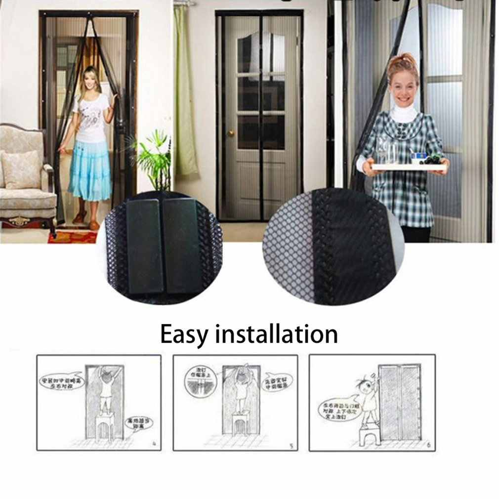 Black Summer Anti Mosquito Curtain Magnetic Tulle Curtains Automatic Closing Door Screen Kitchen Curtains