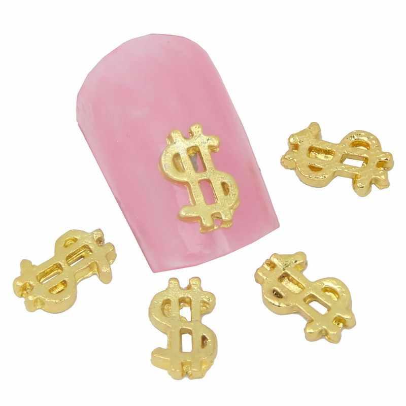 10ชิ้น/ล็อตมาใหม่กลวงออกทองUSDดอลลาร์รูปร่าง3Dแม็กเล็บตกแต่งสำหรับผู้ใหญ่DIYสติ๊กเกอร์เล็บและรูปลอกMA0069
