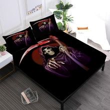 Cartoon Couples Skeleton Sheets Set Grim Reaper Print Fitted Sheet Twin Full King Queen Bed Linens Pillowcase Halloween Gift D45