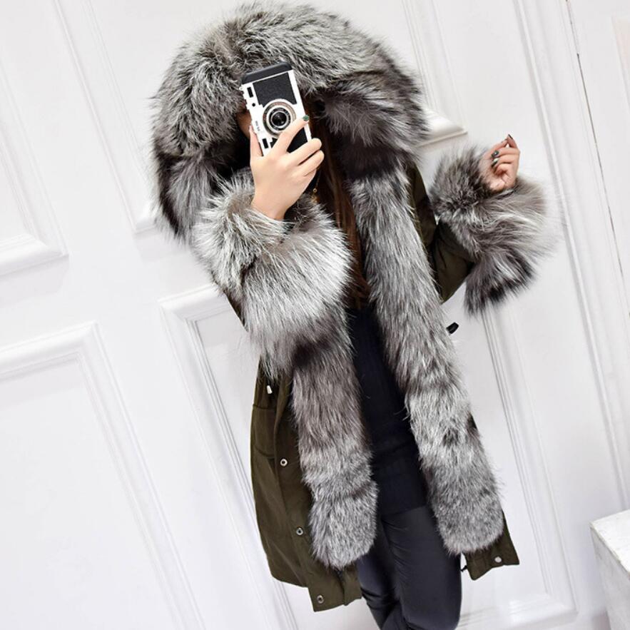 Зимнее пальто Для женщин роскошный Silver Fox меховой воротник белая утка пуховик новый 2018 Средний Длинные парки для Для женщин зимняя верхняя о