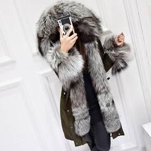 Winter Coat Women Luxurious Silver Fox Fur Collar White Duck Down jacket New 2017 Medium Long Parkas For Women Snow Outerwear