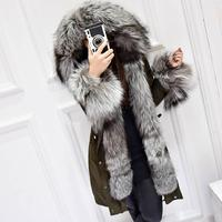 Winter Coat Women Luxurious Silver Fox Fur Collar White Duck Down jacket New 2019 Medium Long Parkas For Women Snow Outerwear