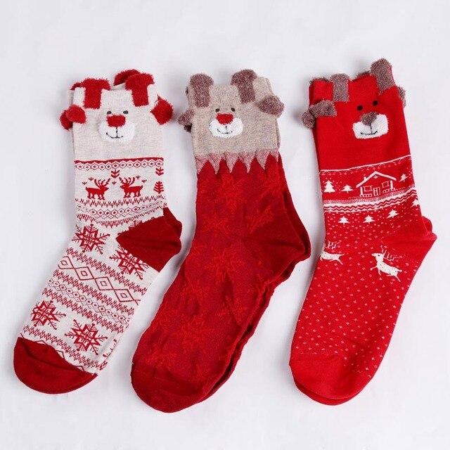 1 pair new winter warm christmas socks deer elk xmas gift kawaii xmas socks for women - Xmas Gifts