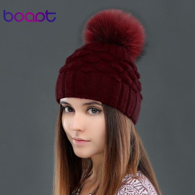 BOAPT wool double-deck fish scale decoration caps  for women's winter genuine raccoon fur pompons knited hats beanie female hat