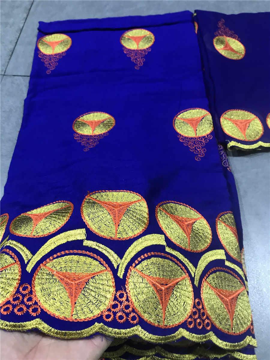Nigeriano tessuto di pizzo di cotone 2019 africano merletto svizzero del voile in svizzera royal blu tessuto di pizzo francese per le donne 5 + 2 yards/lot