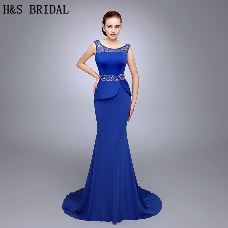 HS14 Shimmering Around Neck Beaded Work Yoke Mermaid Silhouette Floor Length With Straps Blue Long   Prom     Dresses