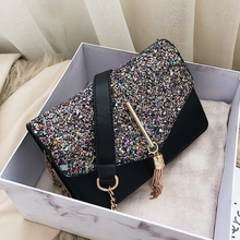 купить JUILE luxury Women Handbag fashion tassel sequin Crossbody Bag handbag Flap Famous Brand Leather Female Messenger Shoulder bag дешево
