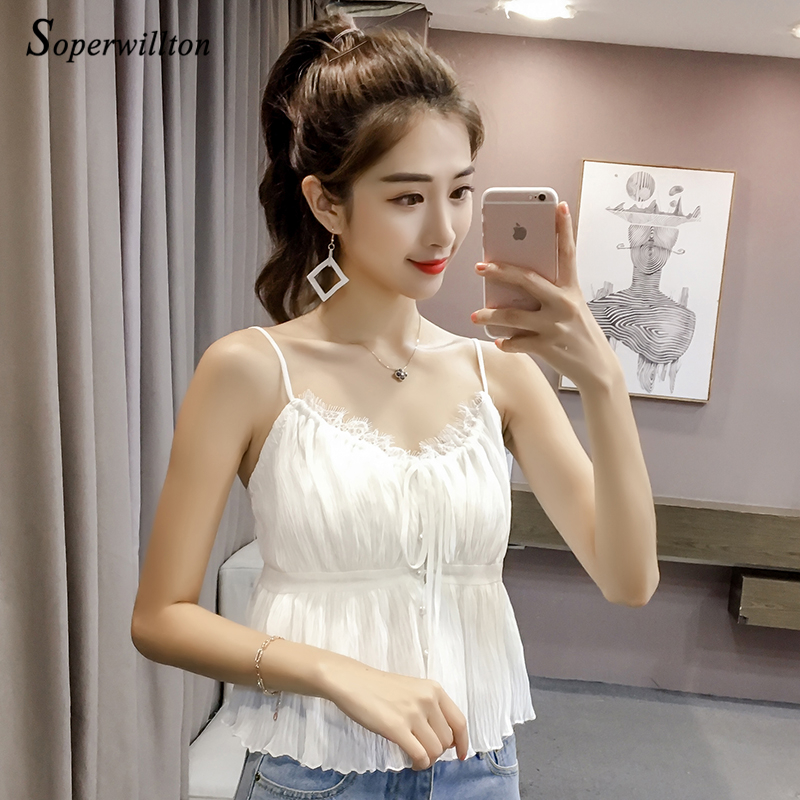 2018 Summer Sexy Chiffon cami Tank Top Women Low Cut Tassels Lace Tops Blouse Shirts velvet Women Tops White Black Pink #C26