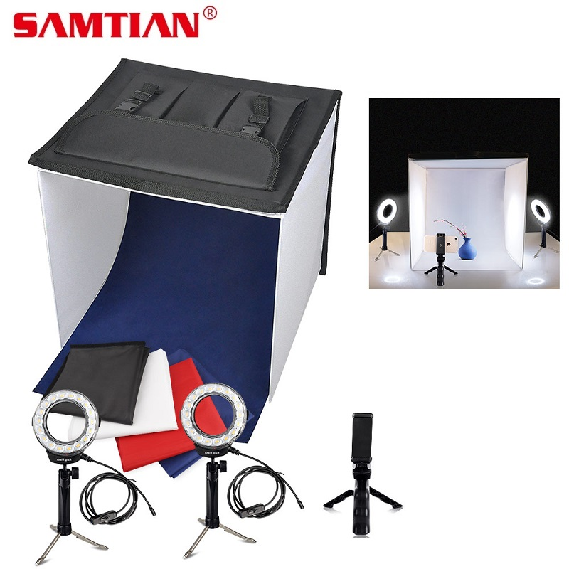 SAMTIAN K40II Portable Photo Studio Mini Light Box Shooting Tent 3200K-9000K CRI85 40*40CM Soft Box For Jewelry Toy Photography
