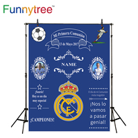 Funnytree Sport Theme Communion Background For Photo Studio Blue Crown Custom Backdrop Photography Photocall Photobooth New