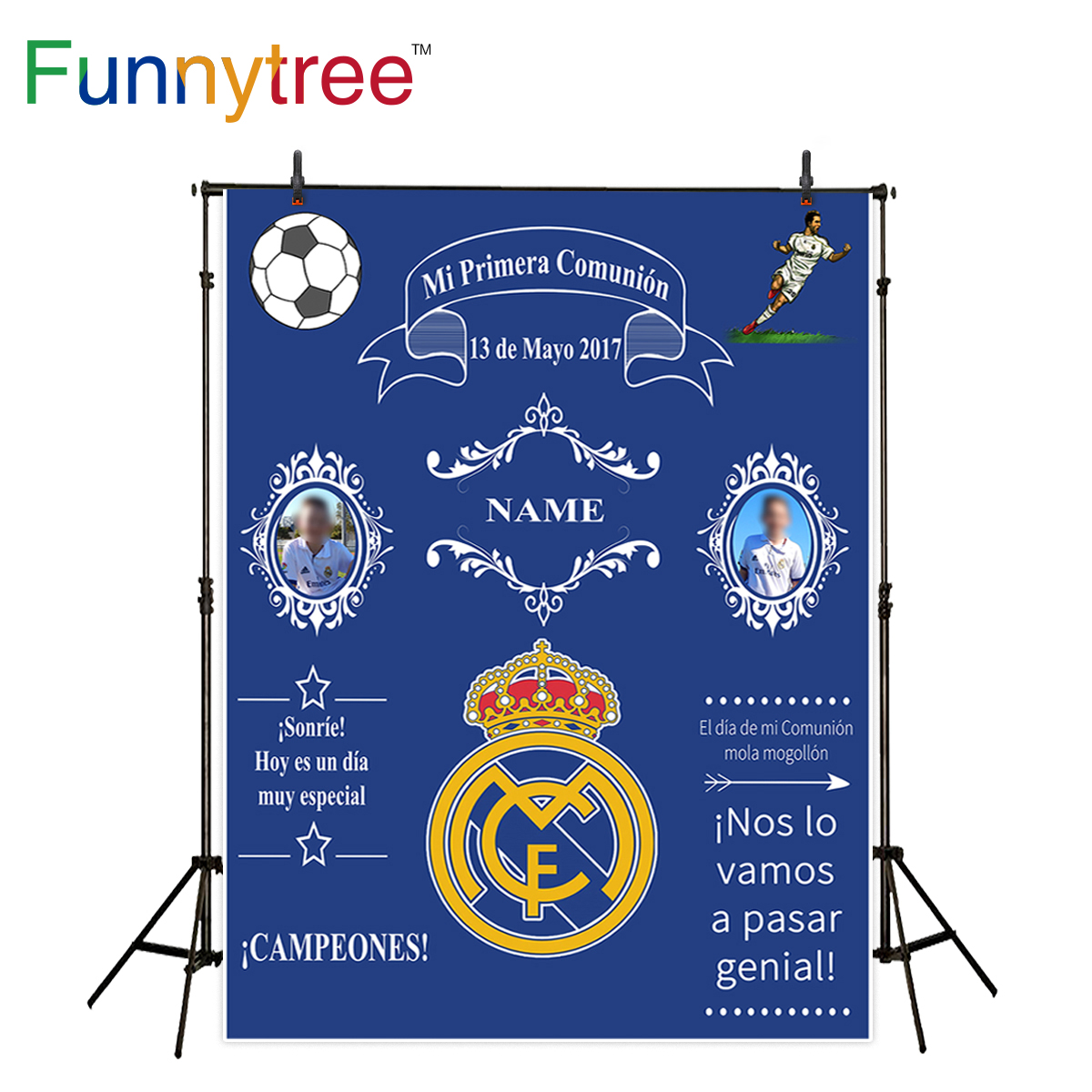 Funnytree sport theme communion background for photo studio blue crown custom backdrop photography photocall photobooth new shengyongbao 300cm 200cm vinyl custom photography backdrops brick wall theme photo studio props photography background brw 12