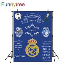 Funnytree esporte tema comunhão coroa azul de fundo para estúdio de fotografia fotografia backdrop personalizado photobooth photocall novo