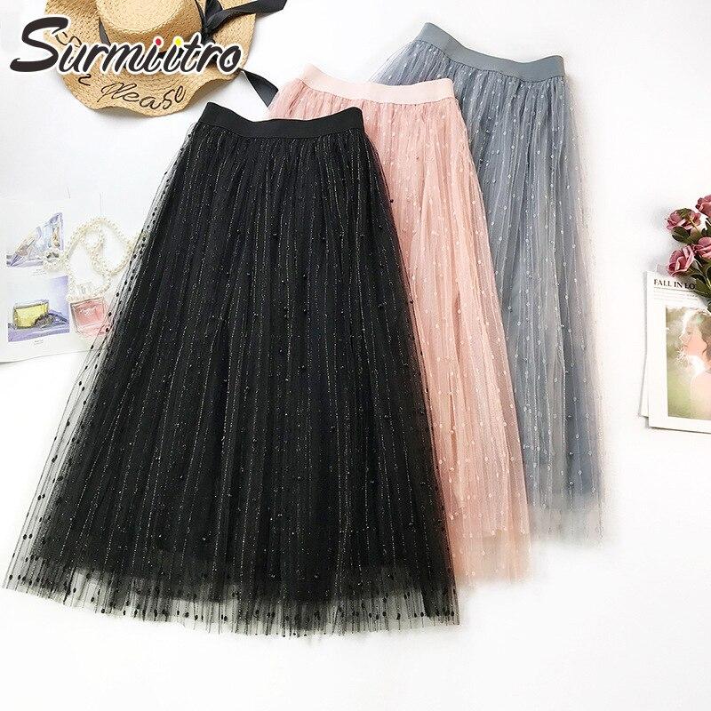 Surmiitro Spring Summer Beading Tulle Skirt Women 2019 Korean Elegant High Waist Pleated Skirt Female Long Maxi School Skirt
