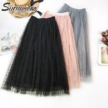 Surmiitro весна лето бисерная Тюлевая юбка женская корейская элегантная Высокая талия плиссированная юбка женская длинная Макси школьная юбка