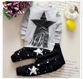 2017 New Spring and Autumn Baby Boys Active Cotton Clothing Set Children Full Pullover Banner Tassel Stars Coat+ pants 2pcs Sets
