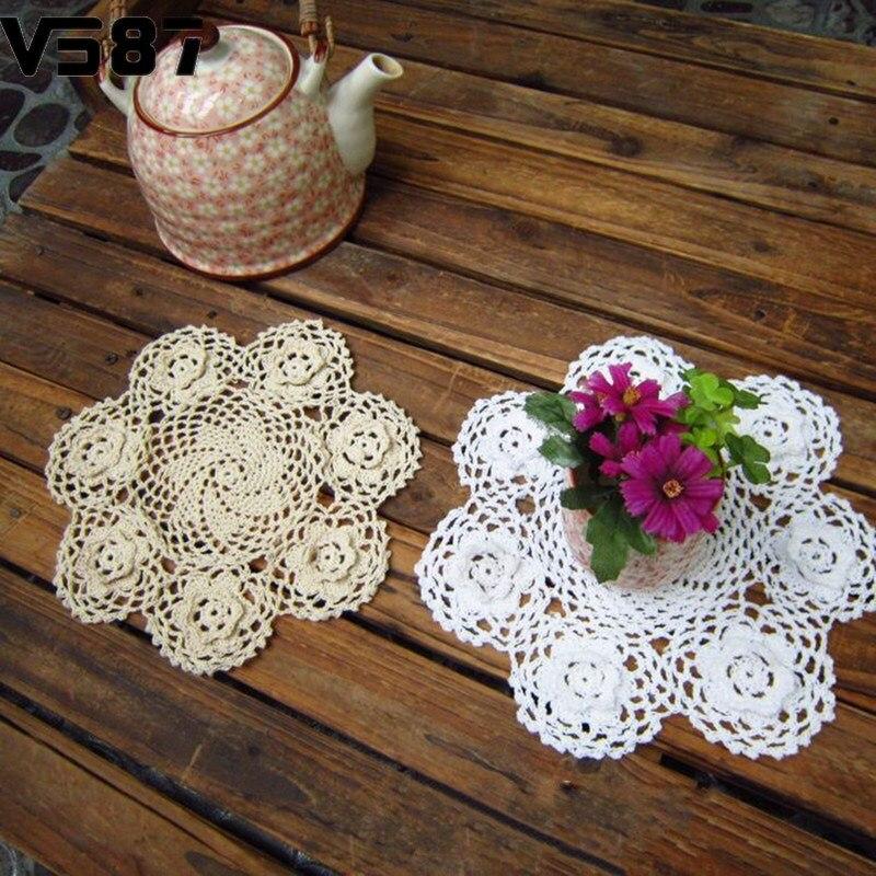 """9"""" Handmade 3D Crochet <font><b>Lace</b></font> Flower Round Doilies <font><b>Wedding</b></font> Party Table Decoration <font><b>Favor</b></font> Cotton <font><b>Cup</b></font> Pad Beige/White Placemat"""
