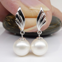 925 silver real natural big Only 925 Olympic silver 9 10mm natural pearl earrings genuine girlfriend birthday gift sent cute Kor