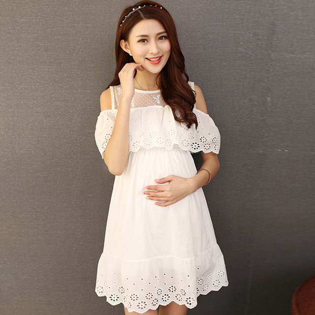 3cb17de73560a Pengpious 2019 o-neck ruffles collar off shoulder pregnant women summer dress  white color hollow out lace cotton maternity dress