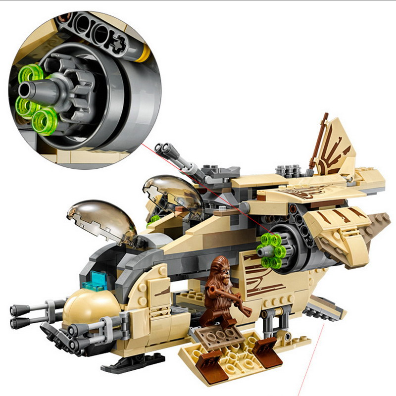 10377 BELA Star Wars 7 Wookiee Gunship Model Building Blocks Enlighten Figure Toys For Children Compatible Legoe 1402 enlighten star wars 8 in 1 aircraft carrier ship tank model building blocks diy figure toys for children compatible legoe