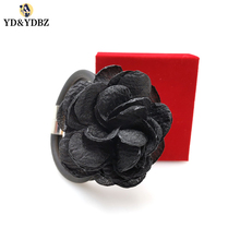 YD&YDBZ New Black Flower Rubber Bracelets For Women Jewelry Gothic Punk Style Female Handmade Simple Charm Bracelet Hand Chains