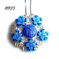 New Blue Blessing in Chinese Ethnic Cloisonne Enamel 925 sterling Silver Chain Necklace Pendant for Women Girls Chistmas Jewelry
