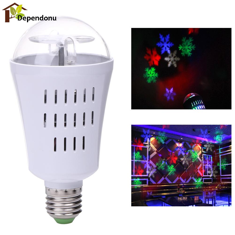 E27 4W LED Projection Rotating Stage Bulb White/RGB Snowflake Projector Christmas Light for Disco Party Stage Lamp