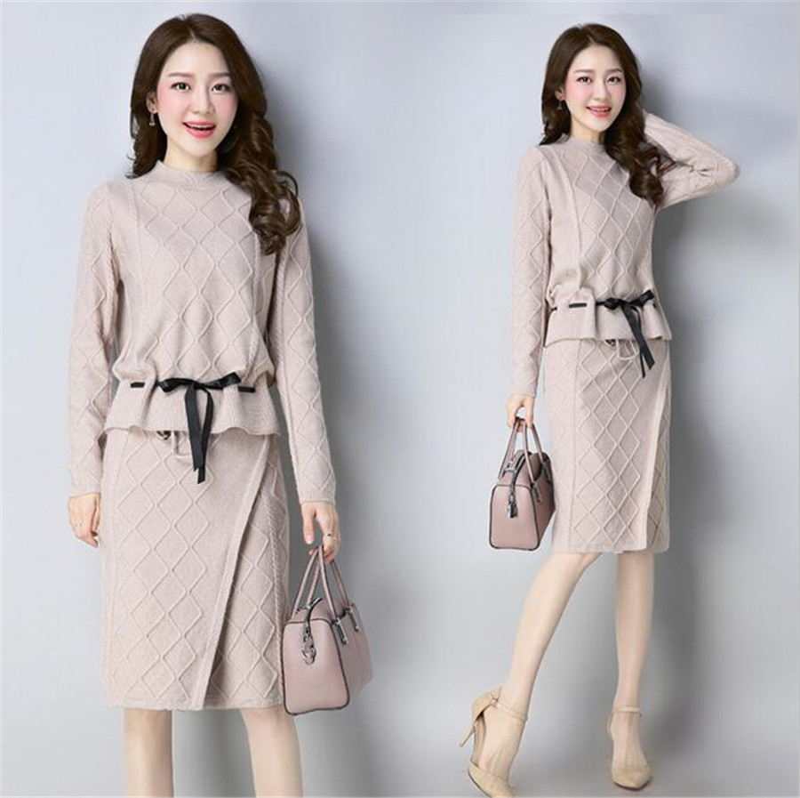 MLCRIYG 2018 Spring Plaid collar knit woolen sweater two pieces of long skirt Korean version fashion suit